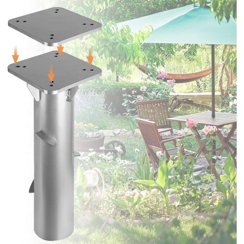 Universal Bodenplatte mit Bodenhülse Sonnenschirm - Bodenanker Ampelschirm zum Einbetonieren, aus
