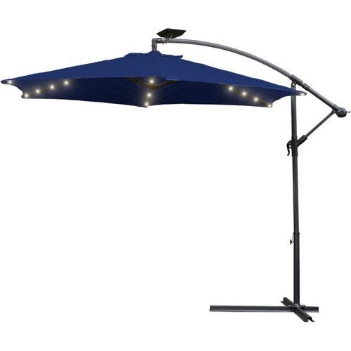 Hengda Alu Sonnenschirm UV-Schutz 40+ Ampelschirm mit 36 LEDs Beleuchtung Solar Garten Schirm