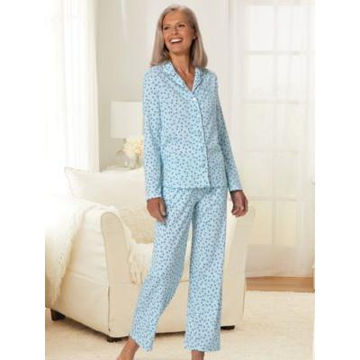 Women's Karen Neuburger® Geometric Multi Print Long-Sleeve Girlfriend Knit Pajamas, Geometric Multi Brown L Misses