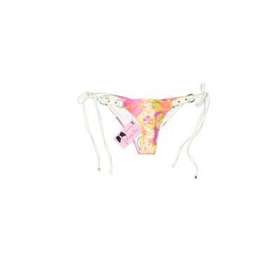 Lady Lux Swimsuit Bottoms: Pink Floral Swimwear - Size Medium