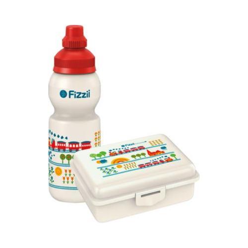 Fizzii Pausenset, Trinkflasche & Brotdose Eisenbahn rot/weiß