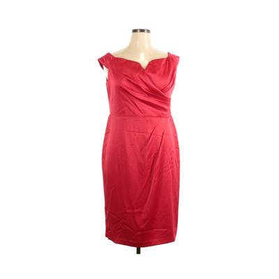 Ignite Evenings Cocktail Dress - Party: Red Solid Dresses - Used - Size 16