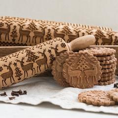 Rouleau à pâtisserie motif flocon de neige Elk, 35x5cm, rouleau à pâtisserie, étoile de noël,