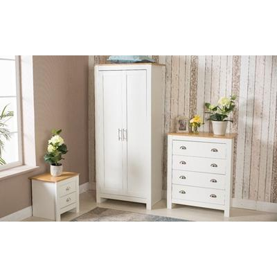 Country-Style Bedroom Furniture: Two Bedside Tables/White