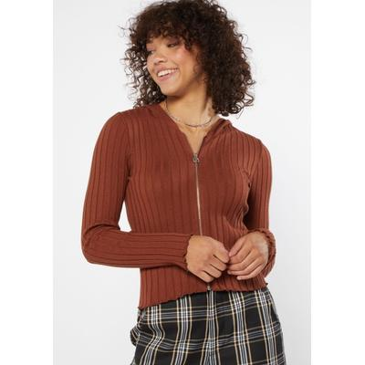 Rue21 Womens Brown Ribbed Knit Zip Up Hoodie - Size S