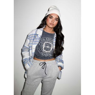 Rue21 Womens Black Mineral Wash La Academy Crop Sweater - Size S