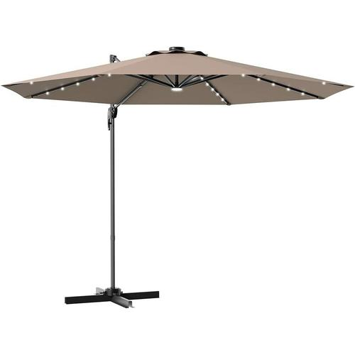 ?300cm Ampelschirm LED Sonnenschirm mit Kreuzstaender, Gartenschirm Kurbelschirm 35 Solarlichtern,