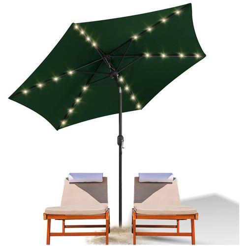 wolketon 3m Sonnenschirm Marktschirm mit Handkurbel UV30+ Outdoor-Schirm Terrassen mit LED Solar
