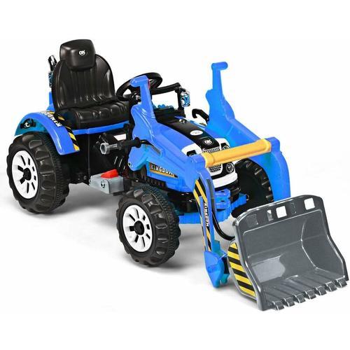 12V Kinder Bagger, Kinderbagger 2,5-5 km/h, Sitzbagger mit Schaufel, Elektro Bagger Spielzeug,