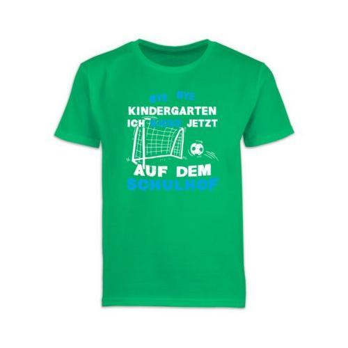 Schulkind Einschulung und Schulanfang Geschenke Bye Bye Kindergarten Einschulung Fußball Blau T-Shirts Kinder grün Kinder