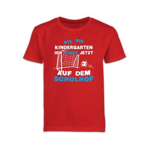 Schulkind Einschulung und Schulanfang Geschenke Bye Bye Kindergarten Einschulung Fußball Blau T-Shirts Kinder rot Kinder