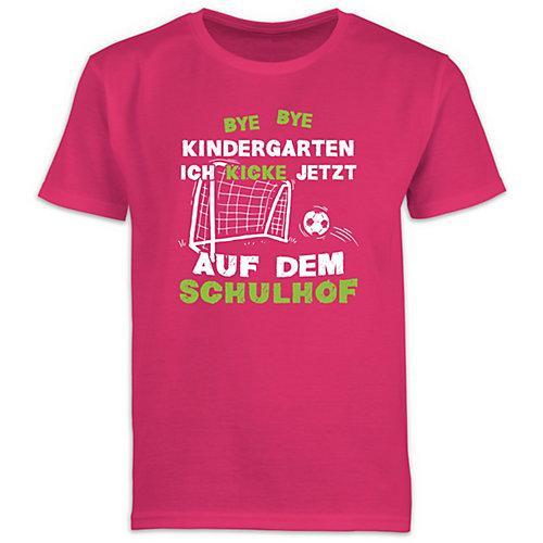 Schulkind Einschulung und Schulanfang Geschenke Bye Bye Kindergarten Einschulung Fußball T-Shirts Kinder fuchsia Kinder