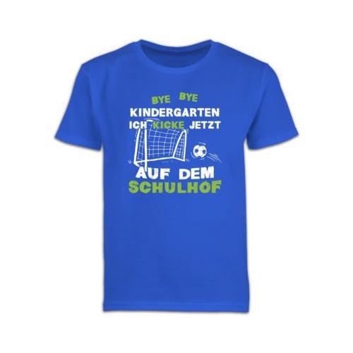 Schulkind Einschulung und Schulanfang Geschenke Bye Bye Kindergarten Einschulung Fußball T-Shirts Kinder blau Kinder
