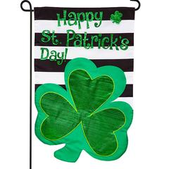 Evergreen Garden Flags - Green & Black Stripe 'St. Patrick's' Shamrock-Shape 18'' Outdoor Flag