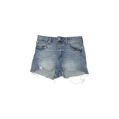 STS Blue Denim Shorts: Blue Soli...