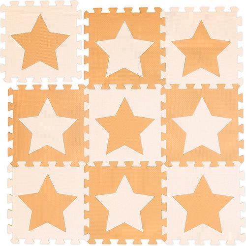 9 x Puzzlematte Sterne, Bodenmatte Bodenpuzzle Set, Kinderspielmatte orange