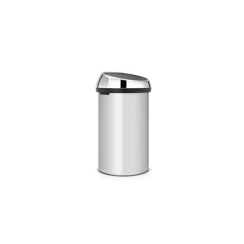 Brabantia Touch Bin, Mülleimer, Abfalleimer, Papierkorb, Deckel, Metallic Grey, Grau, 60 L, 402425
