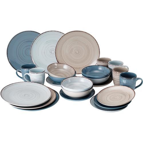 van Well Geschirr-Set Pamplona, (Set, 24 tlg.), Mix aus 3 Farben bunt Geschirr-Sets Geschirr, Porzellan Tischaccessoires Haushaltswaren