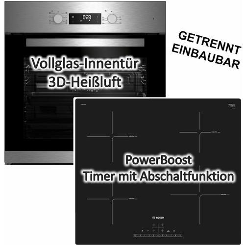 HERDSET Beko Einbau-Backofen+ Bosch Induktionskochfeld autark 60cm Topferkennung