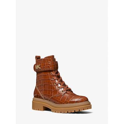 Michael Kors Stark Crocodile Embossed Leather Combat Boot Brown 5.5