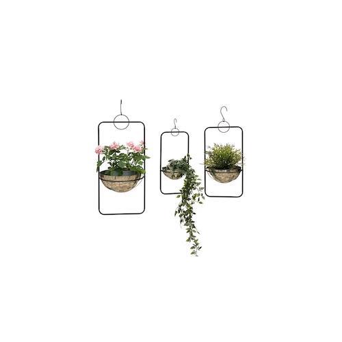 DanDiBo Blumenampel Metall Wand Hängepflanzen 96083 3er Set mit Topf Silber Pflanzenhänger Blumenhänger Topfhänger Blumen Blumentopfhänger Hängetopf