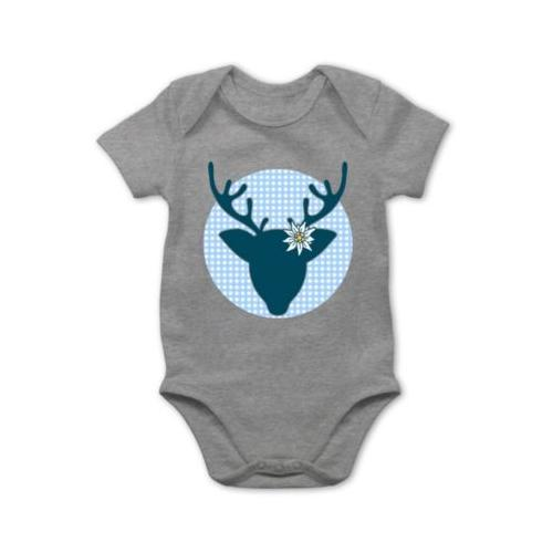 Mode Oktoberfest Baby Outfit Oktoberfest Hirsch mit Edelweiß - blau Bodys Kinder grau Baby
