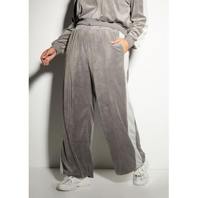 Rue21 Womens Plus Size Gray Wide Leg Side Stripe Velour Joggers - Size 2X