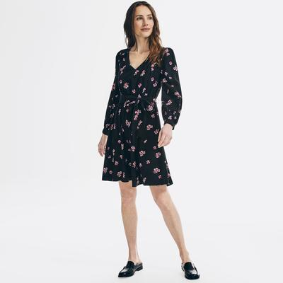 Nautica Women's Sustainably Crafted Floral Print Tie Dress True Black, S