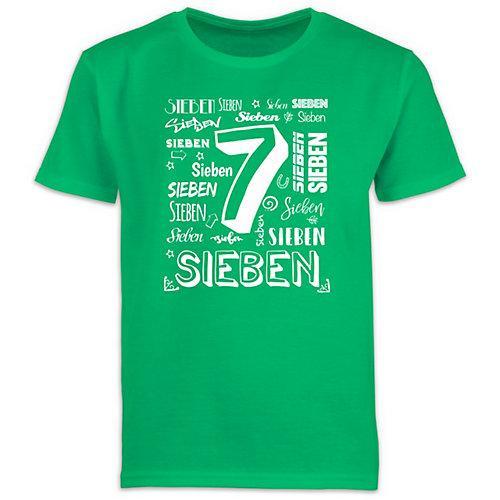 Kindergeburtstag Geburtstag Geschenk 7. Geburtstag Zahlen T-Shirts Kinder grün Kinder