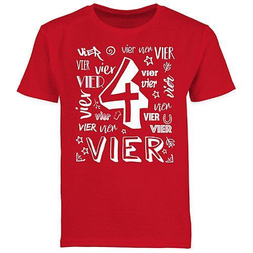 Kindergeburtstag Geburtstag Geschenk 4. Geburtstag Zahlen T-Shirts Kinder rot Kinder