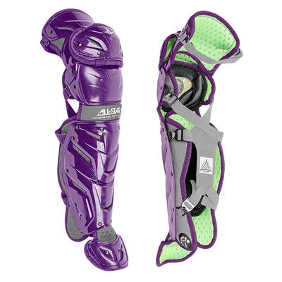 All Star Youth System Seven Axis Catcher's Leg Guards - Ages 12-16 Purple