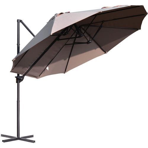 Outsunny® Sonnenschirm mit Kurbel Doppelschirm Gartenschirm Sonnenschutz Metall Braun - braun