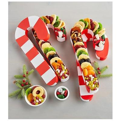 Candy Cane Box Of Dried Fruit And Snacks Duo