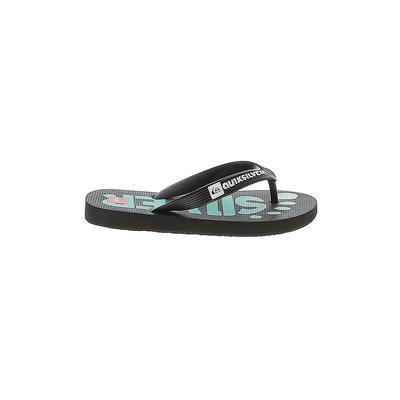 Quiksilver Flip Flops: Black Solid Shoes - Size 13