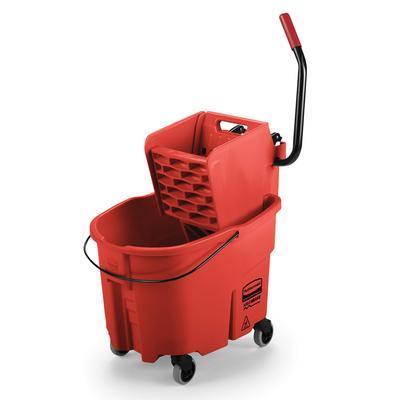Rubbermaid FG758888RED 35 qt WaveBrake Mop Bucket Combo - Side Press Wringer, Plastic, Red