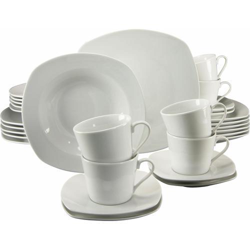 CreaTable Kombiservice Amelie, (Set, 30 tlg.), Mikrowellengeeignet weiß Geschirr-Sets Geschirr, Porzellan Tischaccessoires Haushaltswaren