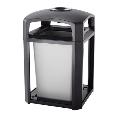 """Rubbermaid FG397001 SBLE 35 gal Landmark Series Container - 26x26x40"""" Dome Top Frame, Ashtray, Sable"""