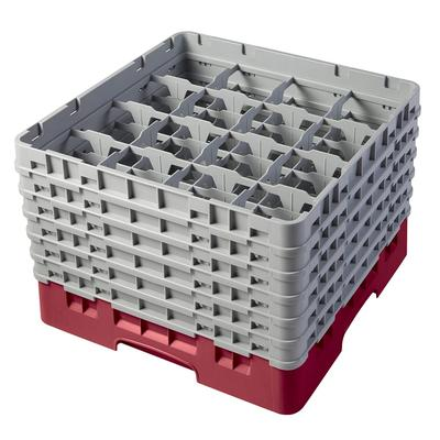 Cambro 16S1114416 Camrack? Glass Rack w/ (16) Compartments - (6) Gray Extenders, Cranberry