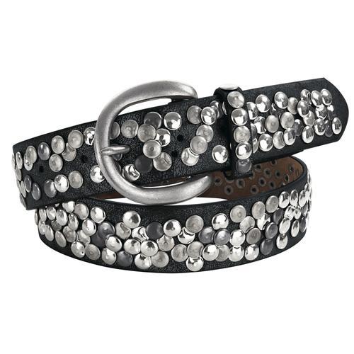 heine Nietengürtel, mit Metallnieten schwarz Damen Ledergürtel Gürtel Accessoires Nietengürtel