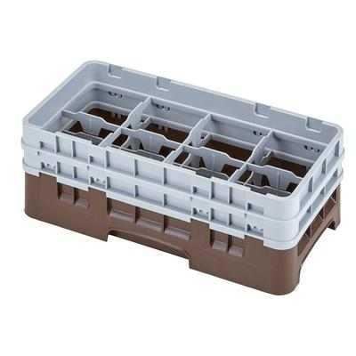 Cambro 8HS434167 Camrack Glass Rack - Half Size, (2)Extenders, 8 Compartments, Brown