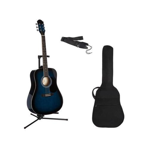 Gitarrenset Westerngitarre, 4/4, mit Tasche und Gitarrengurt blau Gitarre Musikinstrumente
