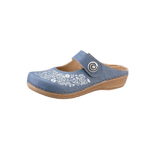 Franken-Schuhe Clog blau Damen Keilschuhe Sommerschuhe