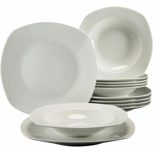CreaTable Tafelservice Amelie, (Set, 12 tlg.), Mikrowellengeeignet weiß Geschirr-Sets Geschirr, Porzellan Tischaccessoires Haushaltswaren