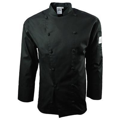 Chef Revival J017BK-M Cuisinier Jacket, 100% Cotton, Drop Shoulder, Black, Medium