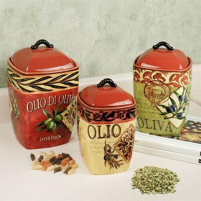 Olio Kitchen Canisters Multi Warm Set of Three, Set of Three, Multi Warm