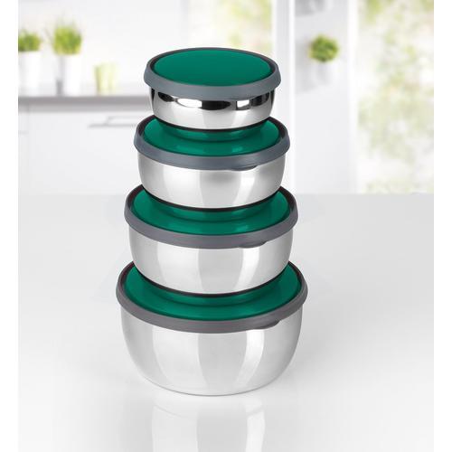 GOURMETmaxx Aufbewahrungsschüssel, (Set, 8 tlg.), stapelbar silberfarben Aufbewahrung Küchenhelfer Haushaltswaren Aufbewahrungsschüssel