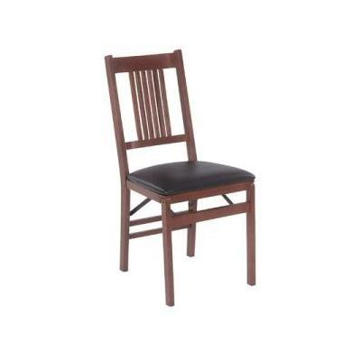 True mission wood folding chair with vinyl seat in fruitwood set of 2