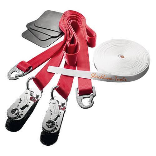 Slackline-Tools - Clip'n Slack Set 15 m - Slackline Gr 15 m rot/weiß