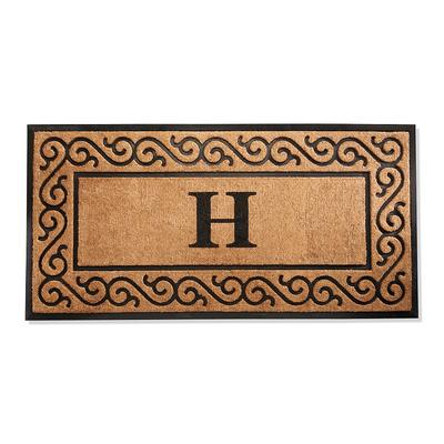 "Hanna Scroll Border Monogrammed Door Mat - N, 30"" x 48"" - Frontgate"