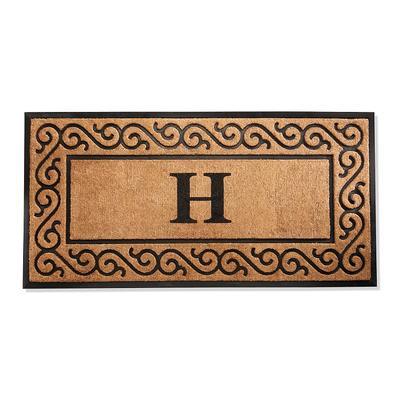 Hanna Scroll Border Monogrammed Door Mat - W, 30 x 48 - Frontgate